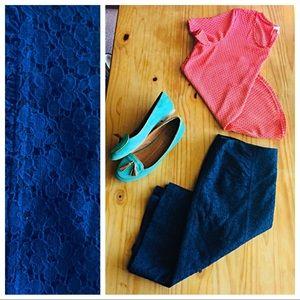 Nanette Lepore dark blue lace skirt